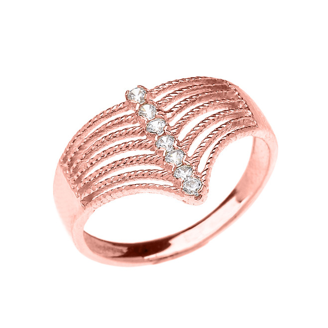 Rose Gold Modern Chevron 7 Stone Diamond Rope Design Ring