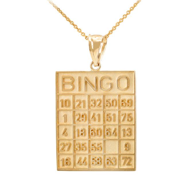 Yellow Gold Bingo Card Square Tile Pendant Necklace