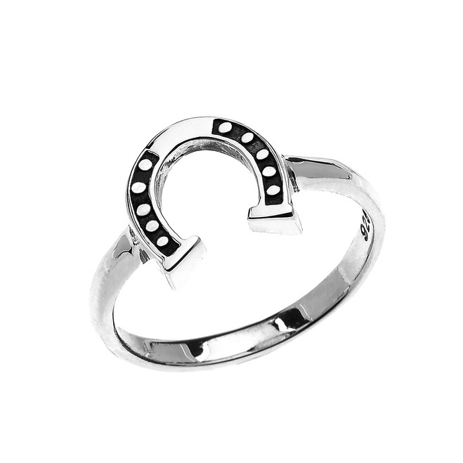 Sterling Silver Dainty Horse Shoe Good Luck Ladies Ring