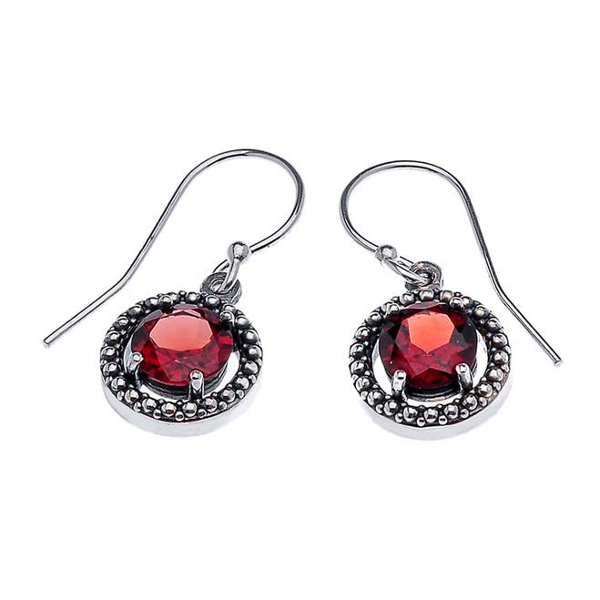 Sterling Silver Round Garnet Dangling Earrings