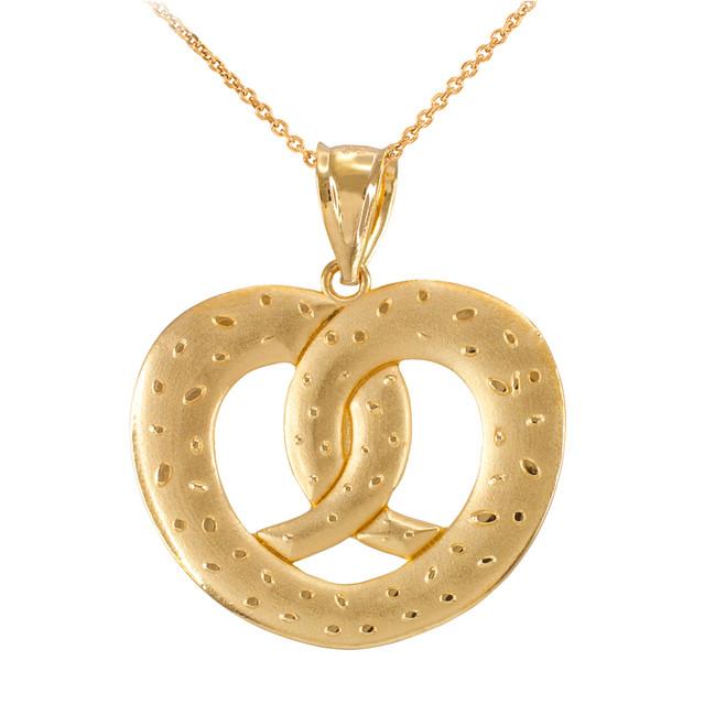 Yellow Gold Love Heart Pretzel Pendant Necklace