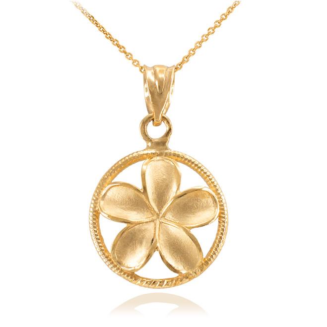 Gold Roped Circle Hawaiian Plumeria Flower Charm Pendant Necklace