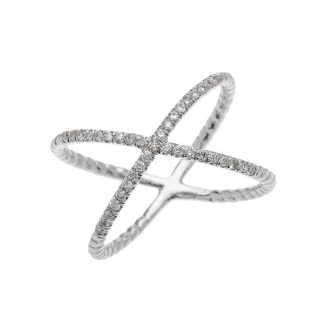 White Gold Dainty Criss Cross Diamond Rope Design Ring