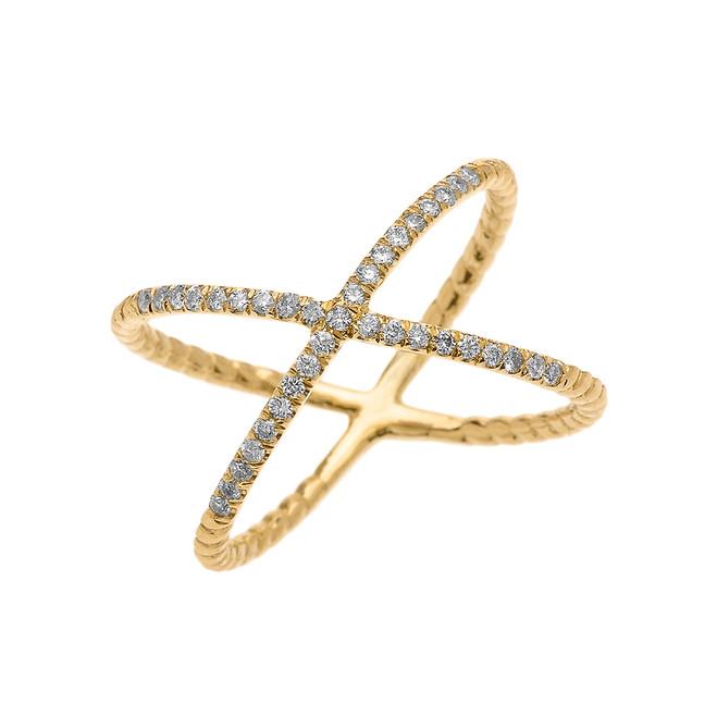 Yellow Gold Dainty Criss Cross Diamond Rope Design Ring