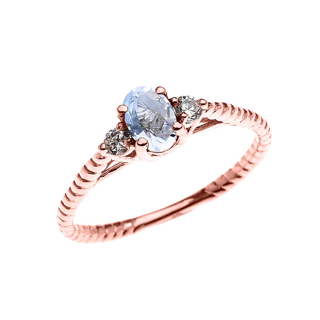 Dainty Rose Gold Aquamarine Solitaire Rope Design Engagement/Promise Ring
