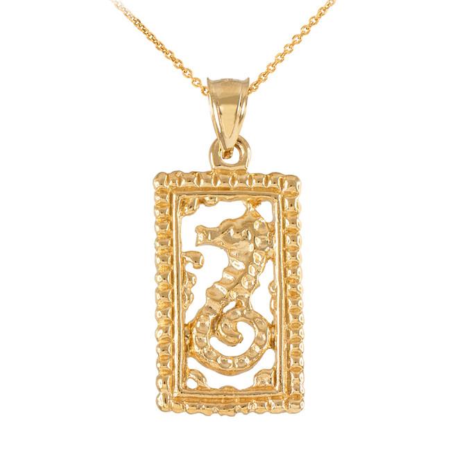 Gold Rectangular Beaded Frame Seahorse Pendant Necklace