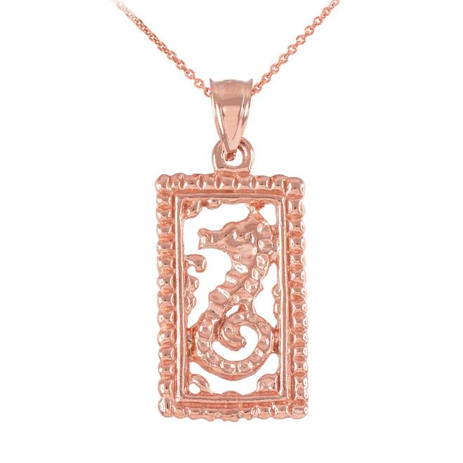Rose Gold Rectangular Beaded Frame Seahorse Pendant Necklace