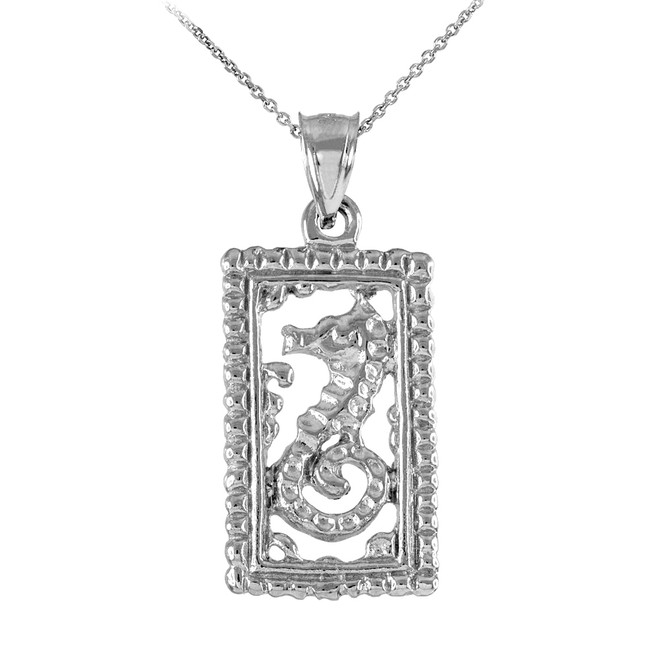 Sterling Silver Rectangular Beaded Frame Seahorse Pendant Necklace