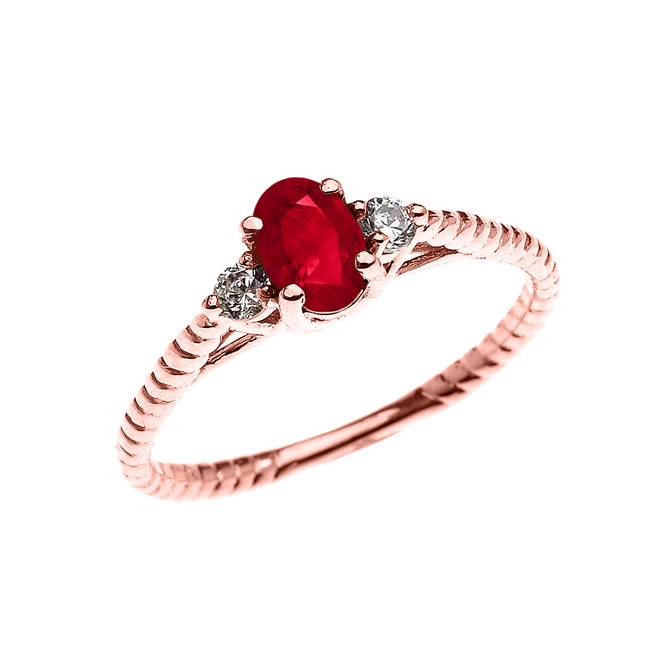 Dainty Rose Gold Ruby Solitaire Rope Design Engagement/Promise Ring