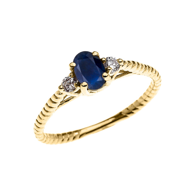 Dainty Yellow Gold Sapphire Solitaire Rope Design Engagement/Promise Ring