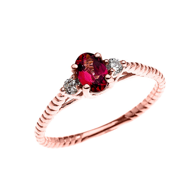Dainty Rose Gold Garnet Solitaire Rope Design Engagement/Promise Ring