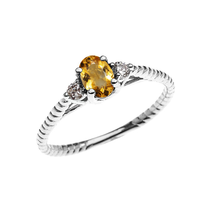 Dainty White Gold Citrine Solitaire Rope Design Engagement/Promise Ring