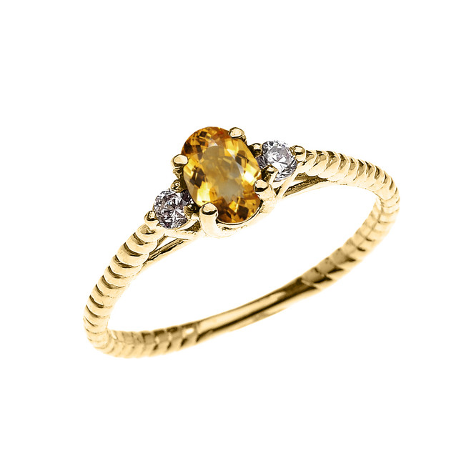 Dainty Yellow Gold Citrine Solitaire Rope Design Engagement/Promise Ring