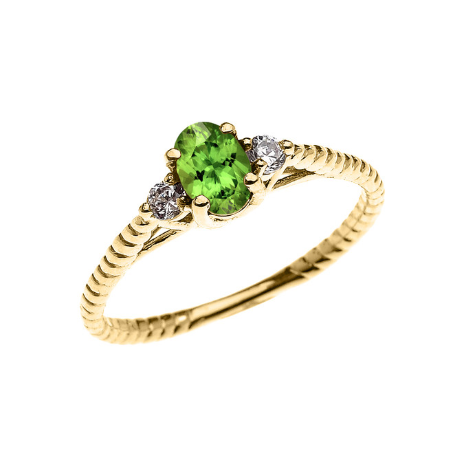 Dainty Yellow Gold Peridot Solitaire Rope Design Engagement/Promise Ring