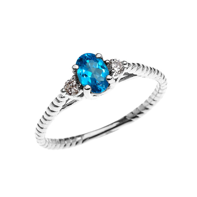 Dainty White Gold Blue Topaz Solitaire Rope Design Engagement/Promise Ring