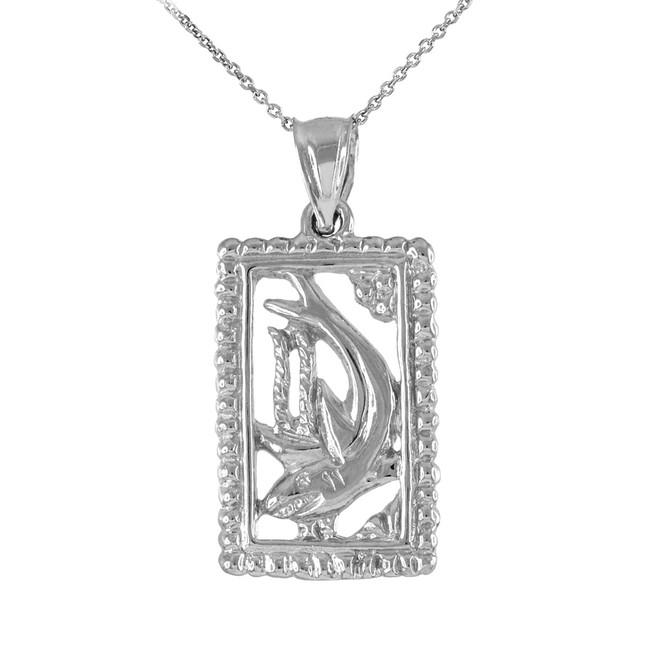 White Gold Shark Beaded Frame Pendant Necklace