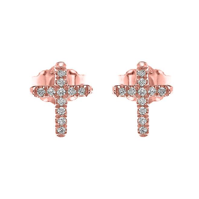 10k Rose Gold Elegant Cross Diamond Stud Earrings