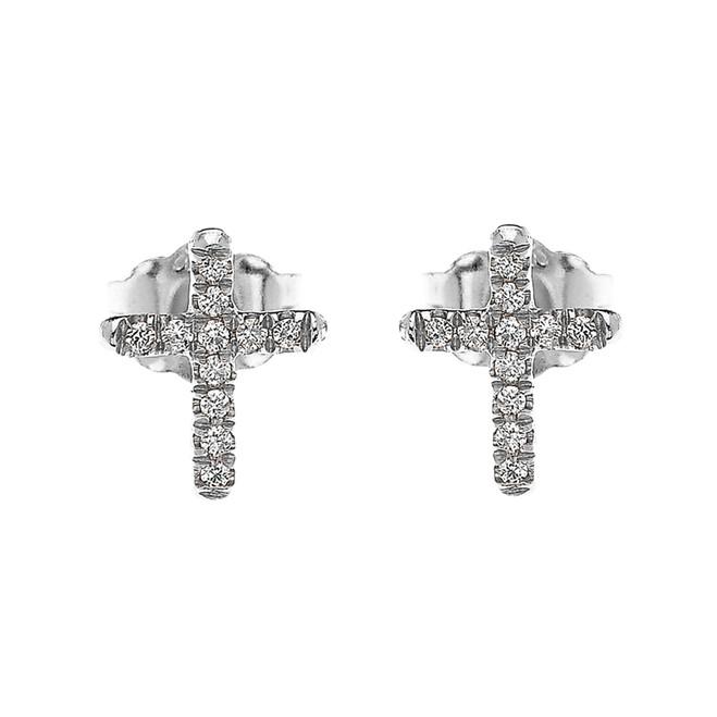 White Gold Elegant Cross Diamond Stud Earrings