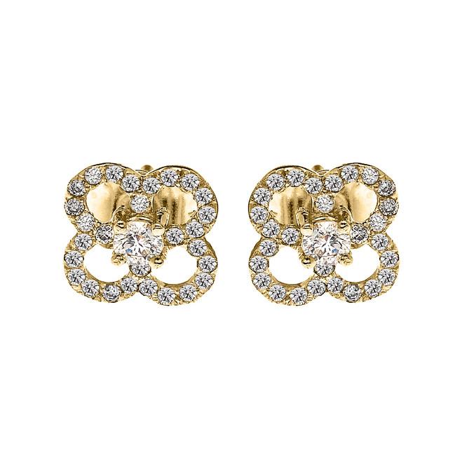 Yellow Gold Elegant 4 Leaf Clover Diamond Stud Earrings