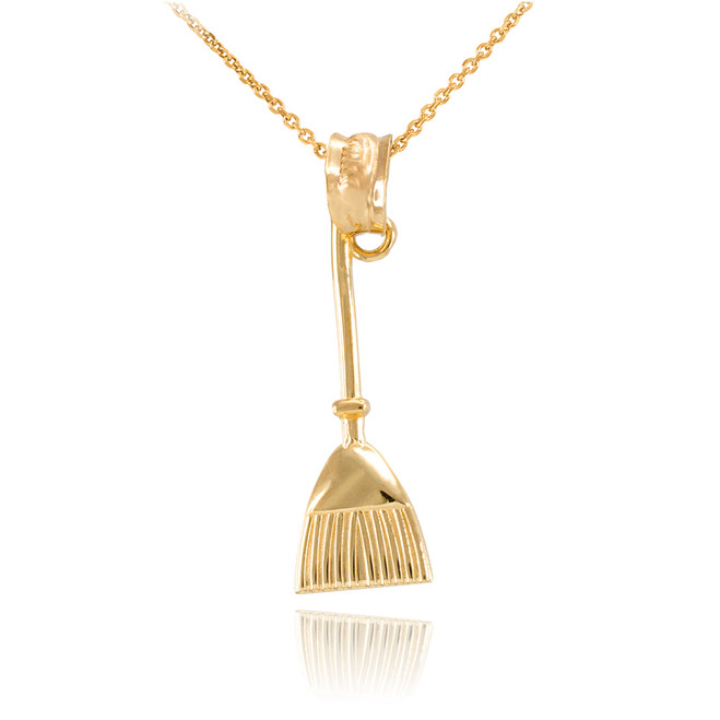 Gold Broom Stick Charm Necklace