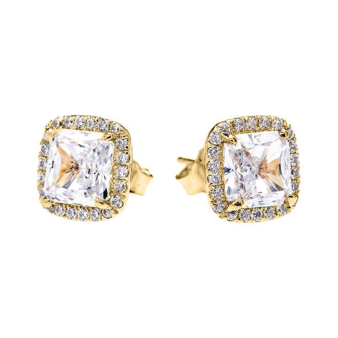 Yellow Gold Elegant Diamond Halo Solitaire Princess Cut Cubic Zirconia Stud Earrings