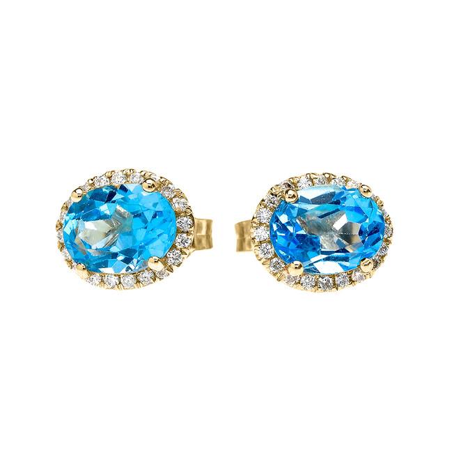 Yellow Gold Elegant Diamond Oval Halo Solitaire Blue Topaz Stud Earrings