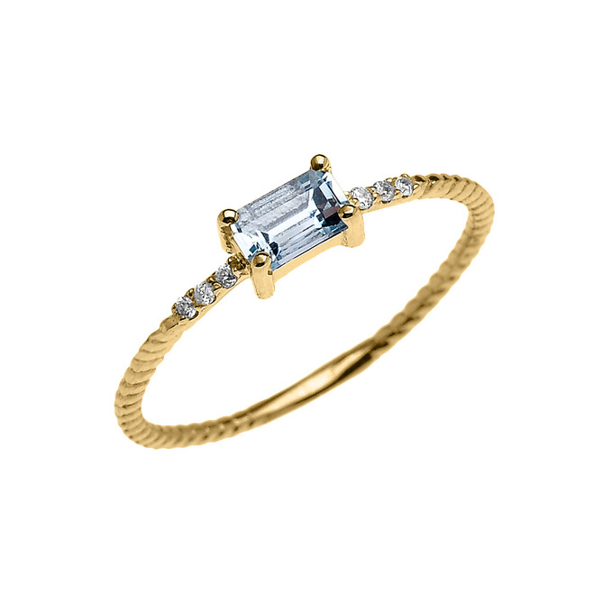Dainty Yellow Gold Solitaire Emerald Cut Aquamarine and Diamond Rope Design Engagement/Promise Ring