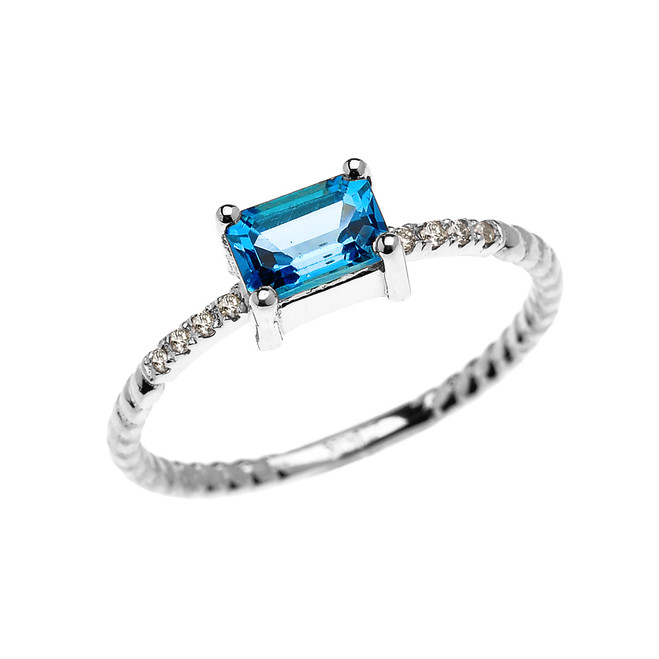 Dainty White Gold Solitaire Emerald Cut Blue Topaz and Diamond Rope Design Engagement/Promise Ring