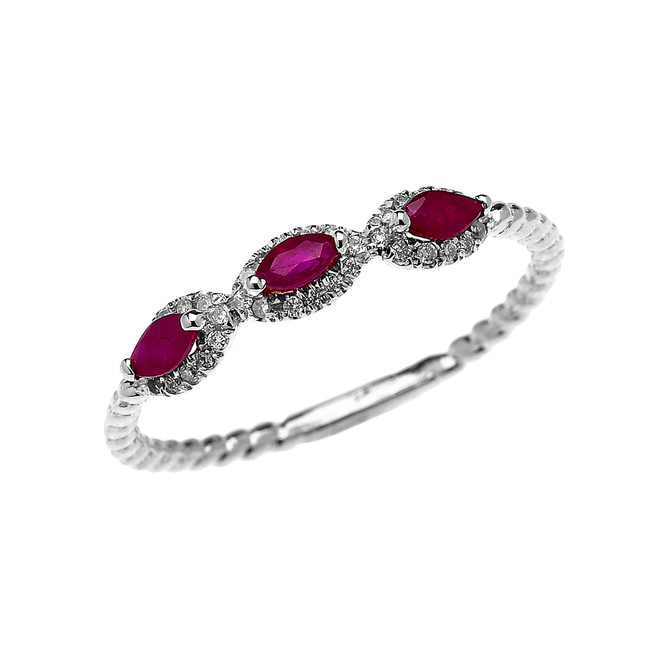 White Gold Dainty Three Stone Marquise Ruby and Halo Diamond Rope Design Engagement/Promise Ring