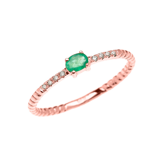Rose Gold Dainty Solitaire Emerald and Diamond Rope Design Promise Ring
