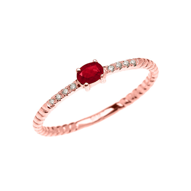 Rose Gold Dainty Solitaire Ruby and Diamond Rope Design Promise Ring