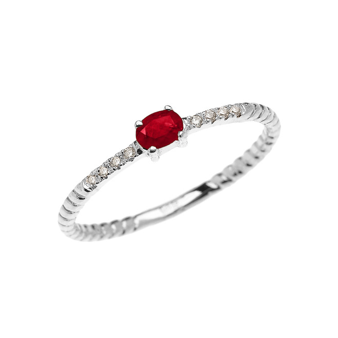 White Gold Dainty Solitaire Ruby and Diamond Rope Design Promise Ring