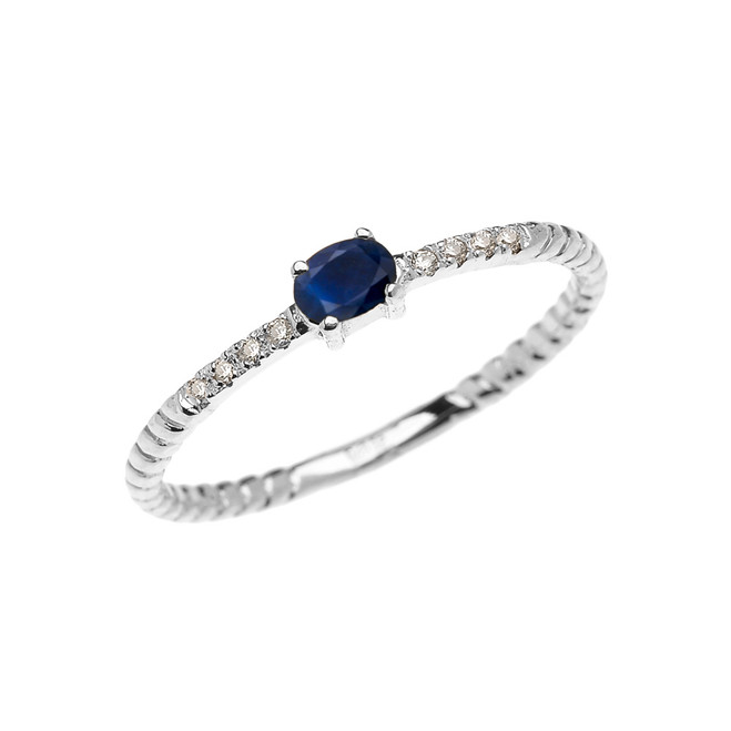 White Gold Dainty Solitaire Sapphire and Diamond Rope Design Promise Ring