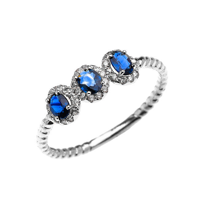 Dainty White Gold Three Stone Oval Sapphire and Halo Diamond Rope Design Engagement/Promise Ring