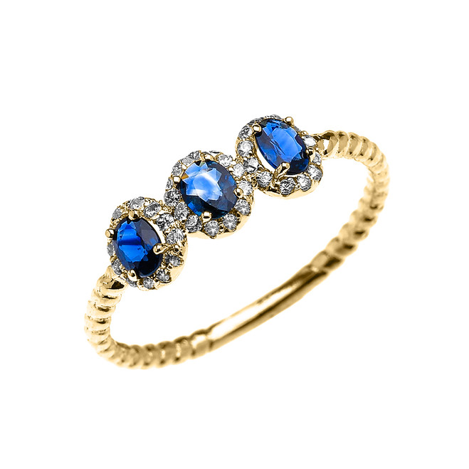 Dainty Yellow Gold Three Stone Oval Sapphire and Halo Diamond Rope Design Engagement/Promise Ring