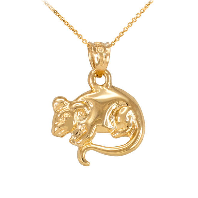 Polished Gold Rat Mouse Charm Necklace