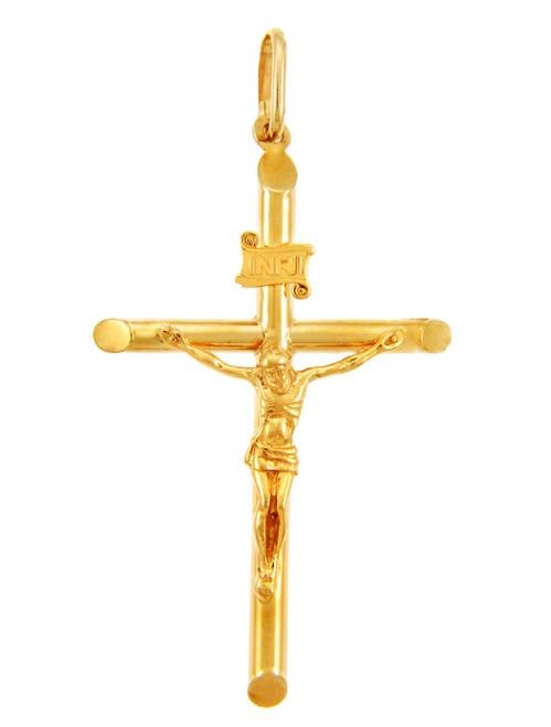 14k Yellow Gold Tubular Cross Charm Catholic Crucifix Pendant