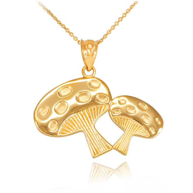 Gold Mushrooms Pendant Necklace