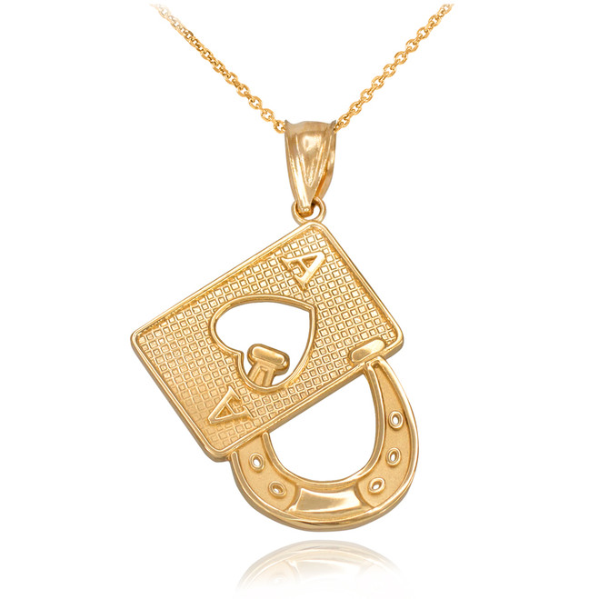 Gold Lucky Ace Card Horseshoe Pendant Necklace