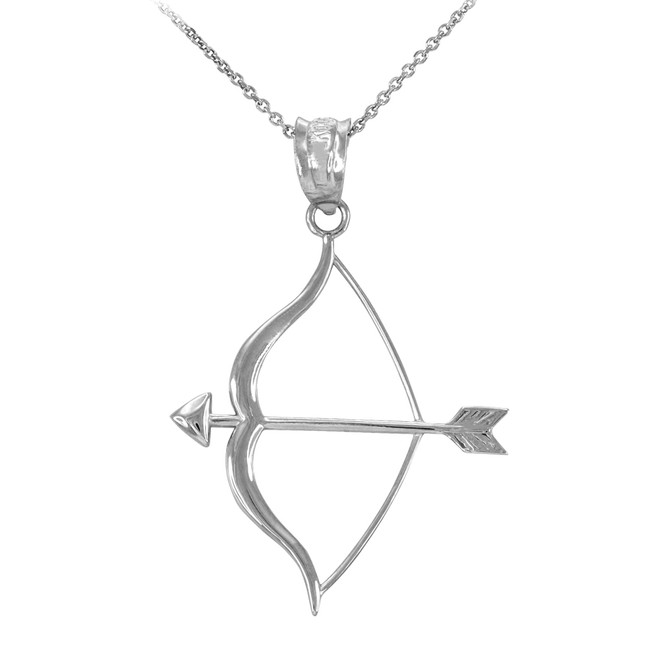 Polished White Gold Bow and Arrow Pendant Necklace