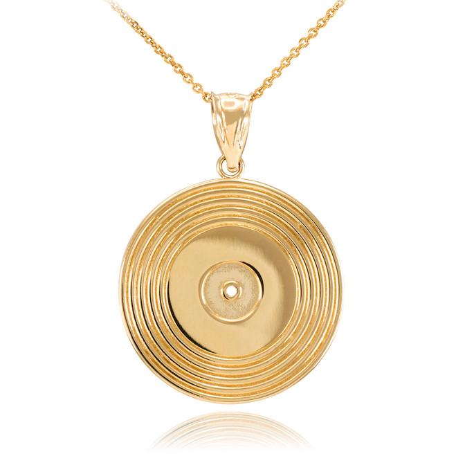 Gold Vinyl Disc Music Recoring Pendant Necklace