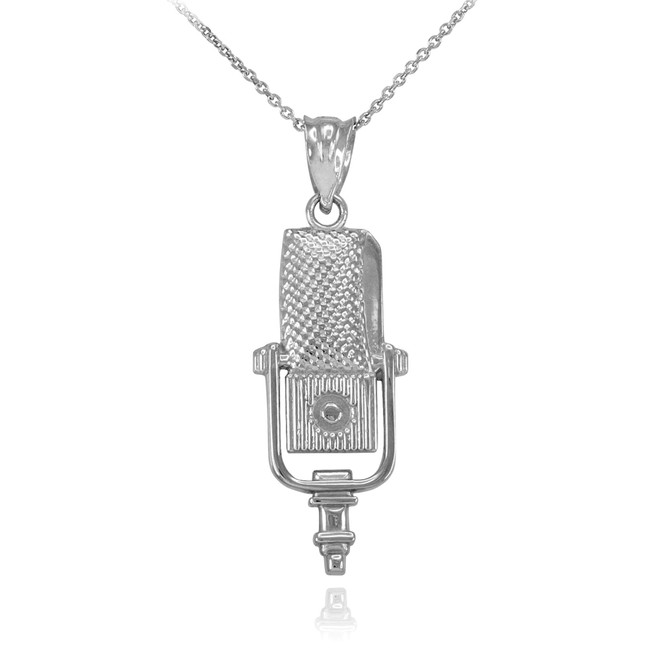 Sterling Silver Studio Microphone Pendant Necklace