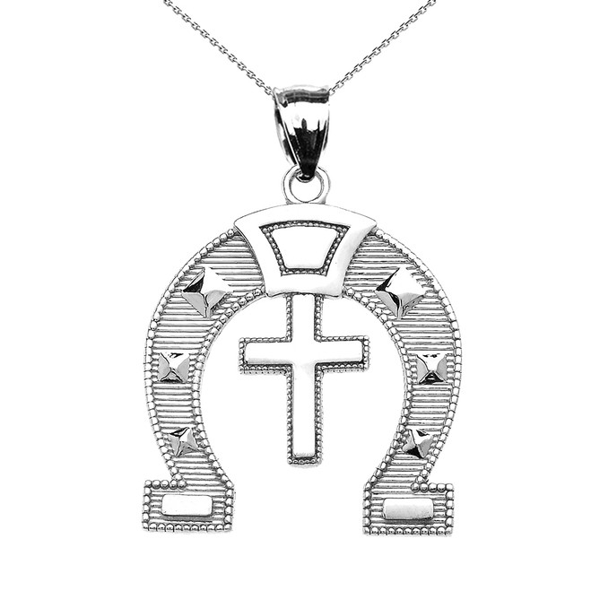 White Gold Religious Cross Horse Shoe Good luck Pedant Necklace