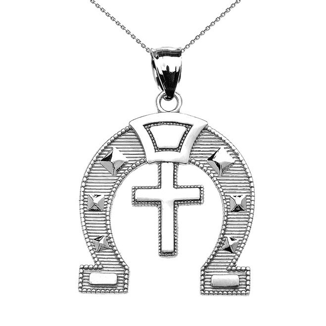 Sterling Silver Religious Cross Horse Shoe Good luck Pedant Necklace