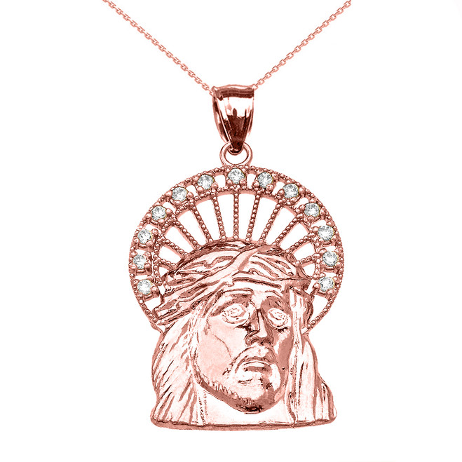 Rose Gold Cubic Zirconia Halo Jesus Face Pendant Necklace