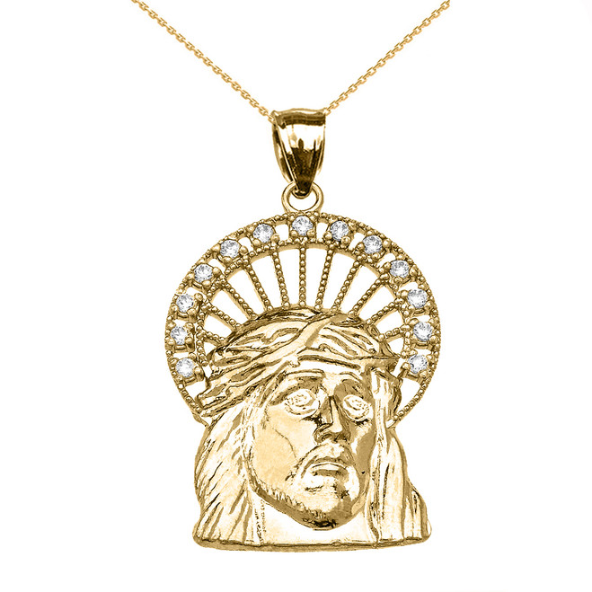 Yellow Gold Cubic Zirconia Halo Jesus Face Pendant Necklace