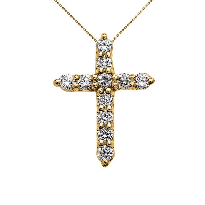 Elegant Yellow Gold 1 Carat Round Cubic Zirconia Extra Small Cross Pendant Necklace