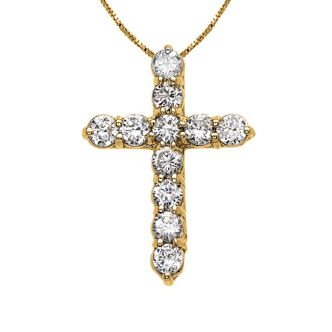 Elegant Yellow Gold 3 Carat Round Cubic Zirconia Small Cross Pendant Necklace