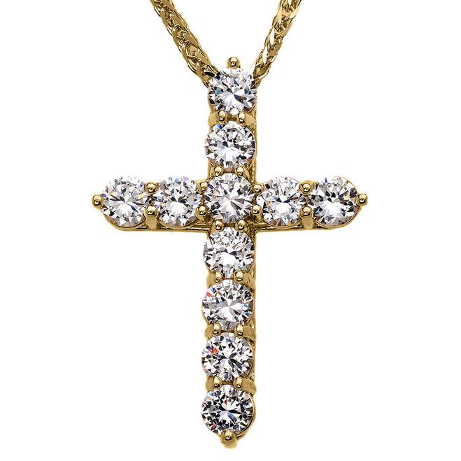 Yellow Gold Elegant 12 Carat Round Cubic Zirconia Cross Pendant Necklace (Extra Large)