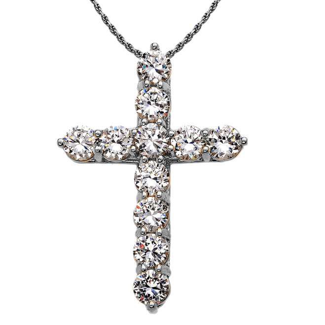 Elegant Sterling Silver 12 Carat Round Cubic Zirconia Cross Pendant Necklace (Extra Large)